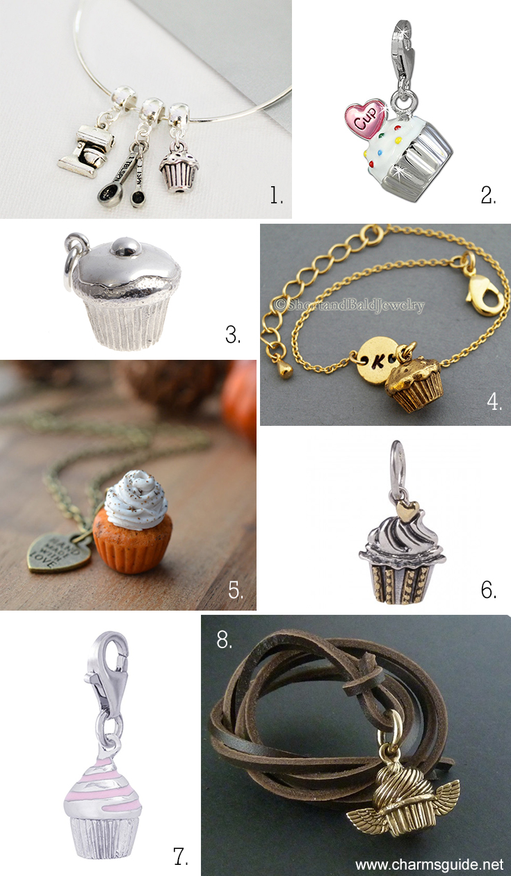 Cupcake charm jewelry curated by CharmsGuide.net