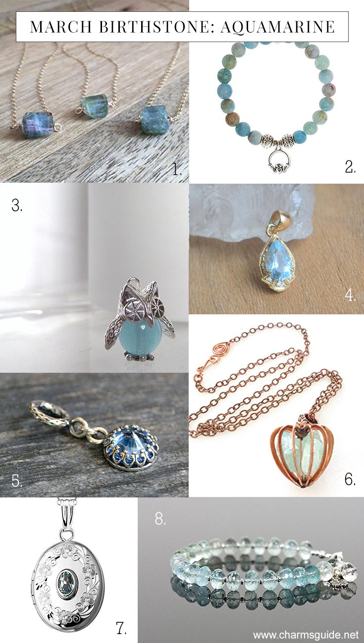 March birthstone aquamarine jewelry by CharmsGuide.net