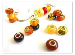 Pandora style amber beads