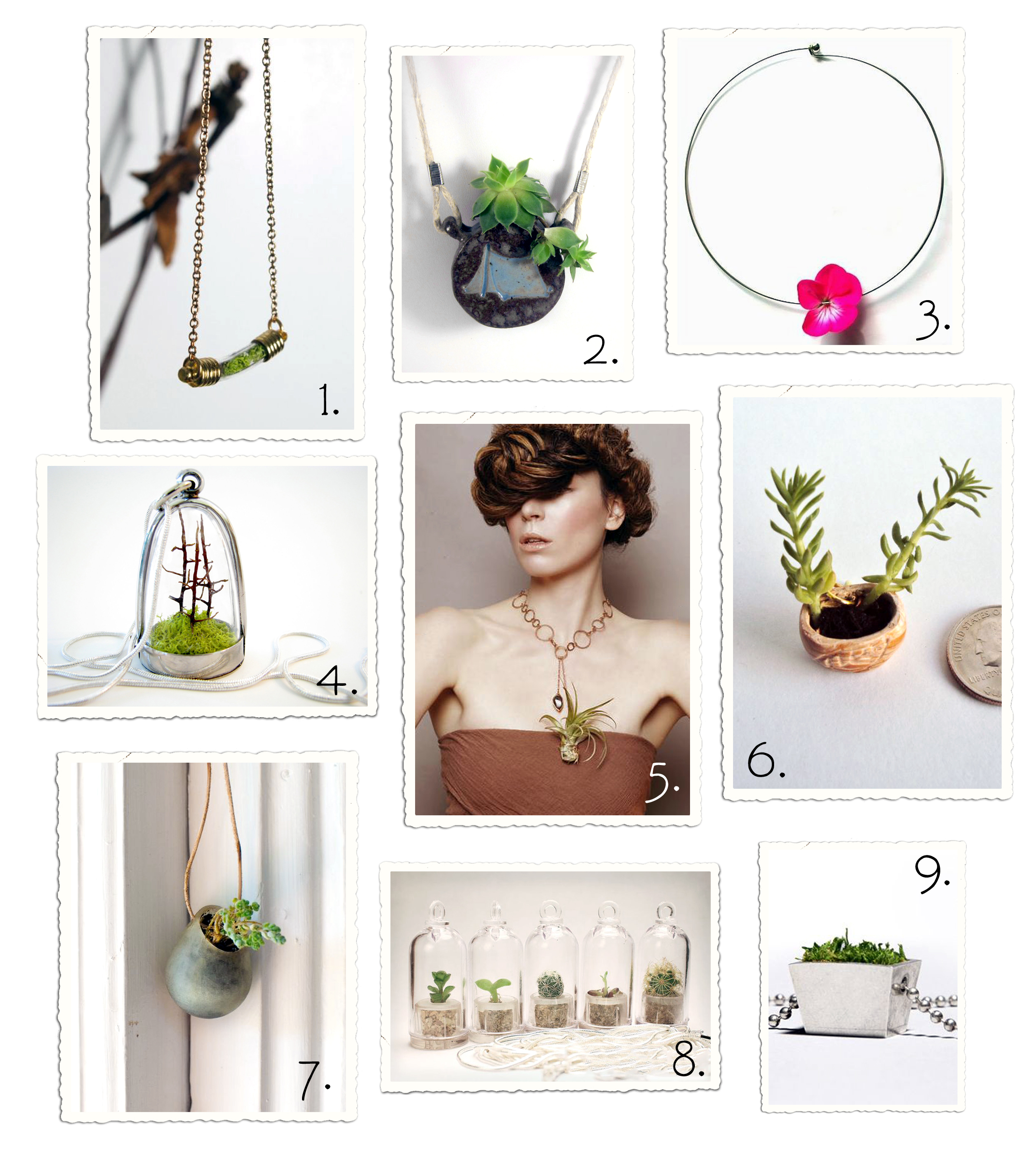 Green jewelry designs with real plants