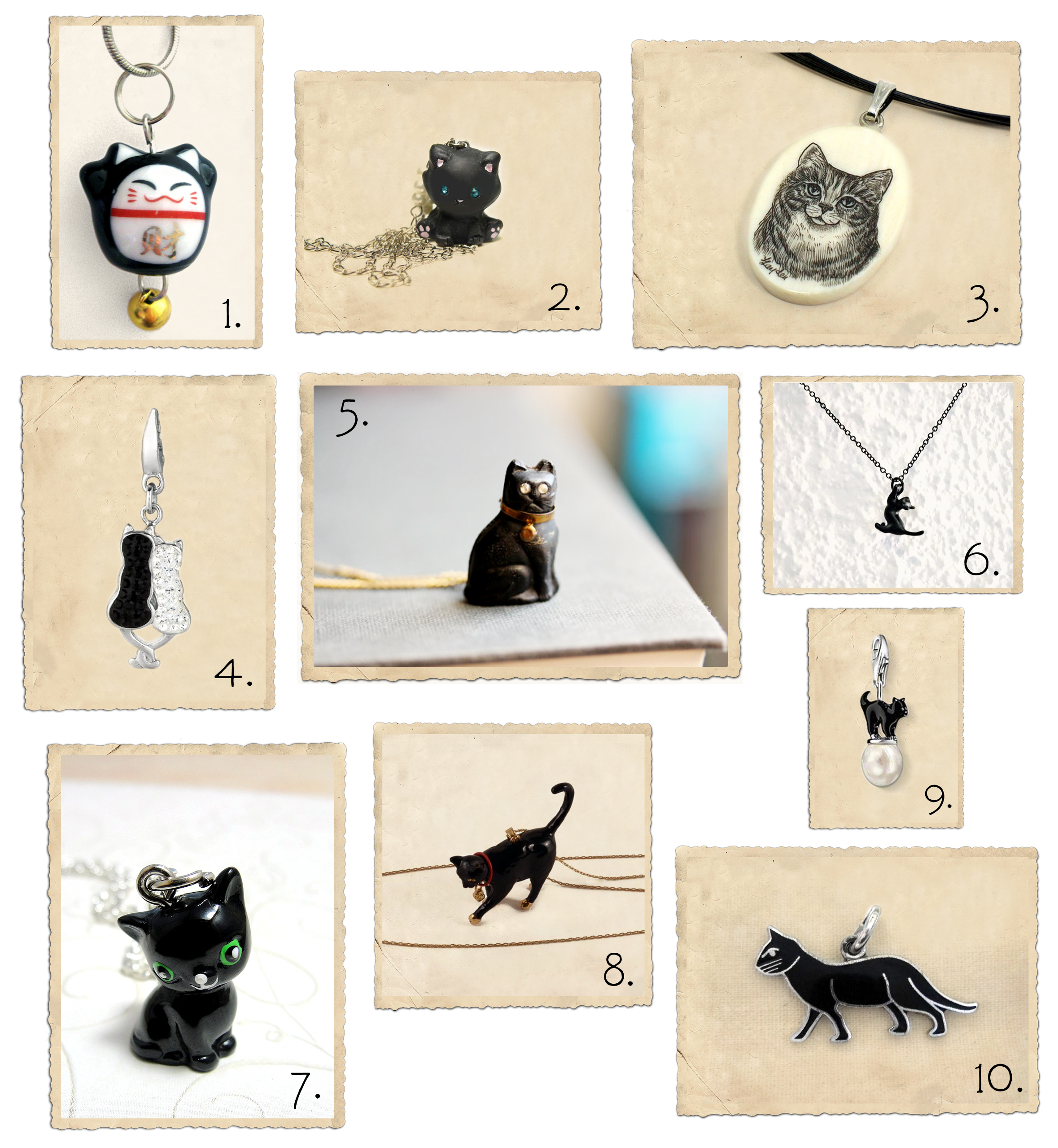 Black cat charms and pendants
