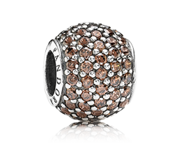 Pandora brown pave bead