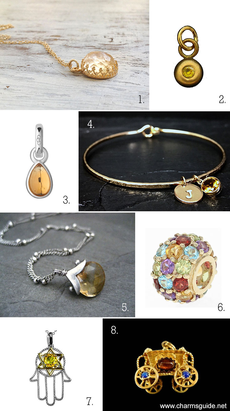 November Birthstone Citrine jewelry curated by CharmsGuide.net