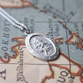 Sterling silver necklace with St Christopher medal by My Love and Soul